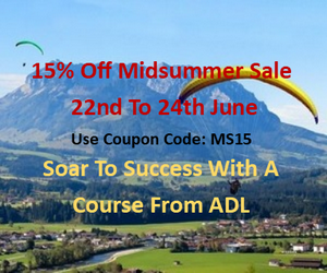 yellow glider among mountains and text that says Midsummer Sale from 22nd to 24th of June 15% off