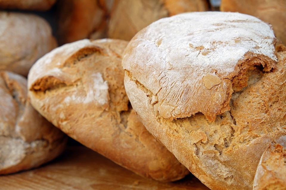 loaves of crusty bread, freshly baked