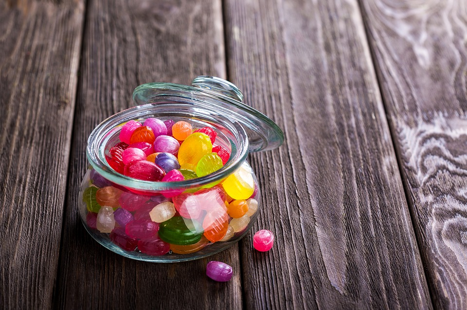 a jar of multicoloured sweets