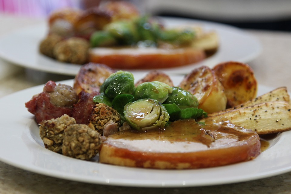 christmas dinner, turkey, stuffing, brussel sprouts and roast potatoes