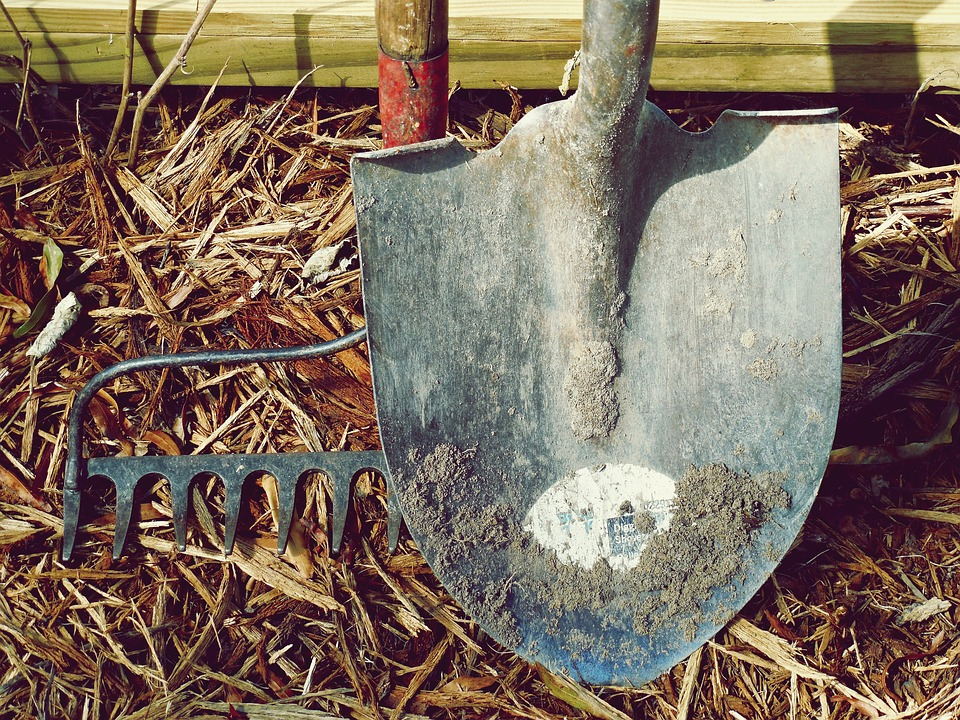 garden tools that are covered in dirt and need a good clean