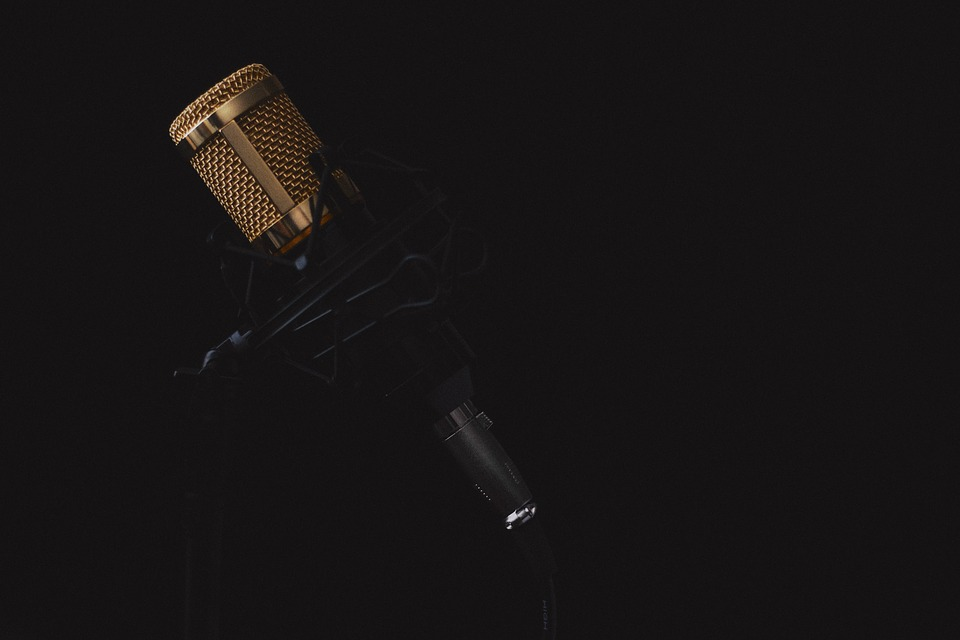 microphone against dark background