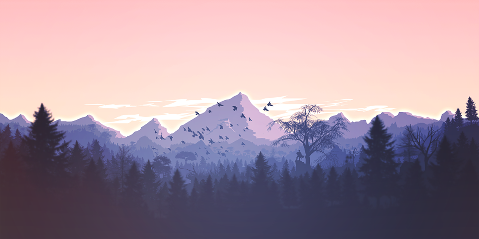 mountain scene with traveller