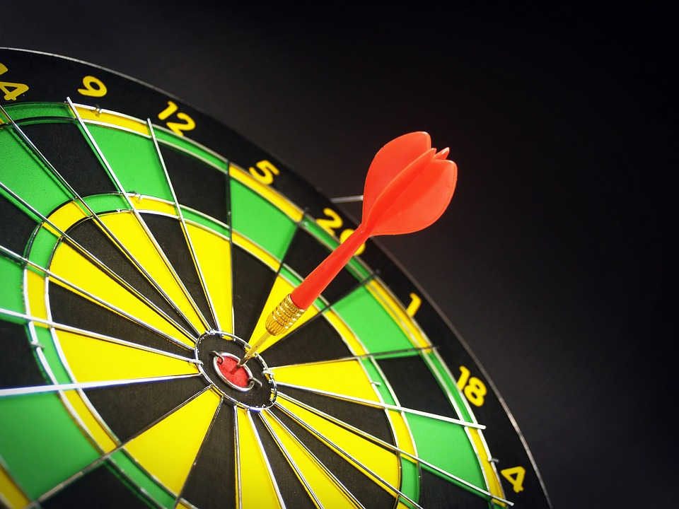 dart board with a dart in the middle