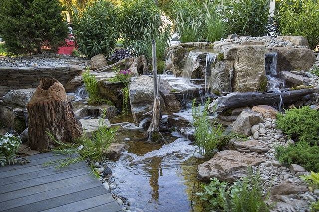 rock garden with water