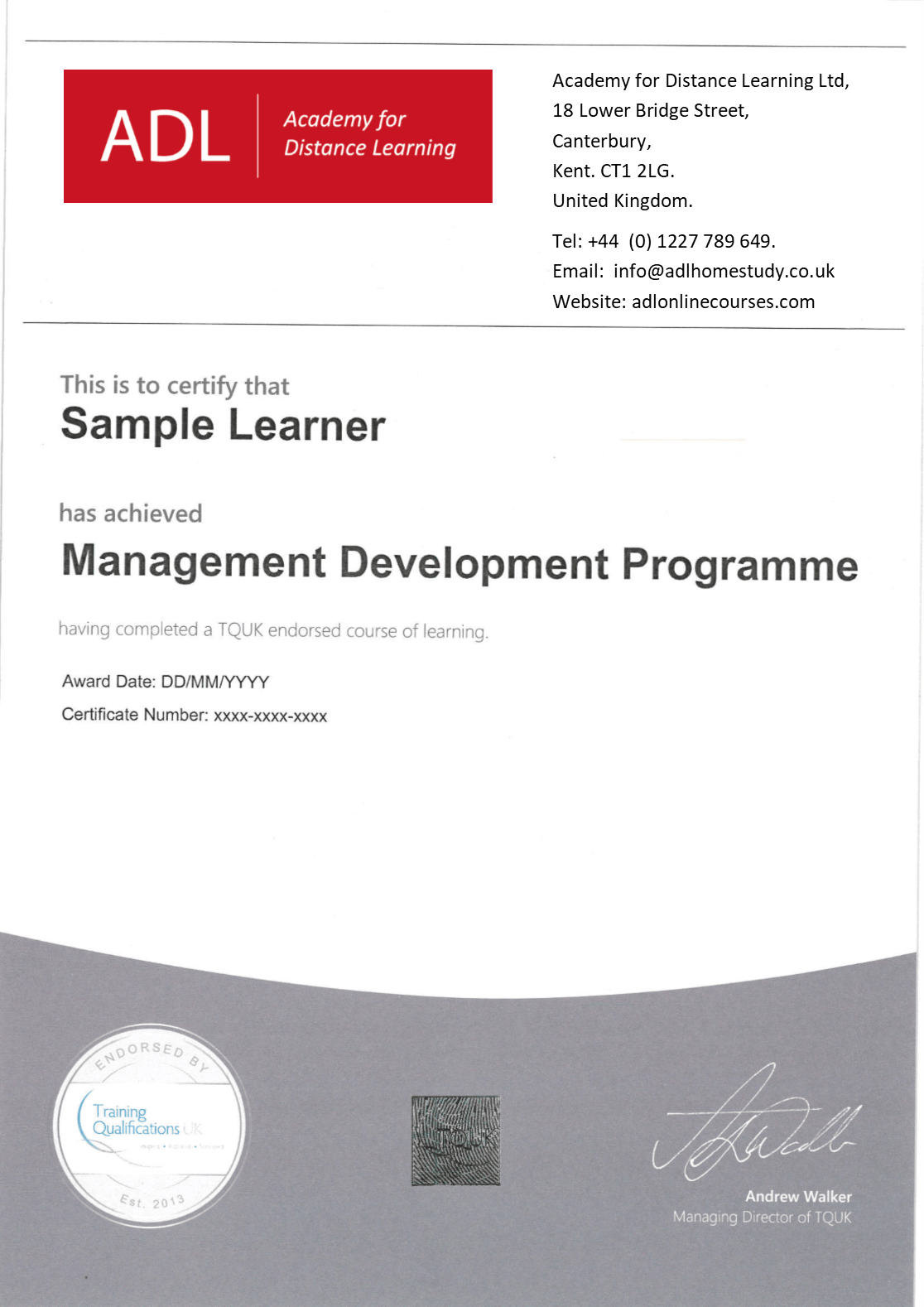 Sample TQUK certificate issued on completion of assignments and final exam