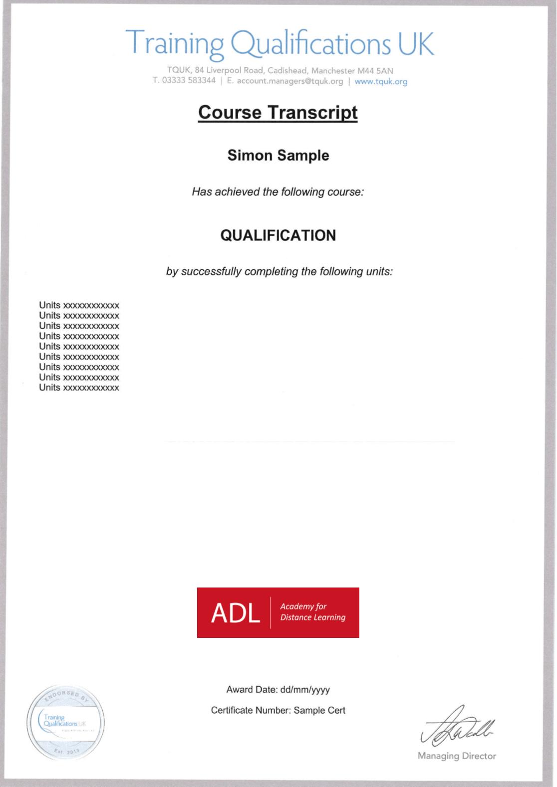 Sample course transcript
