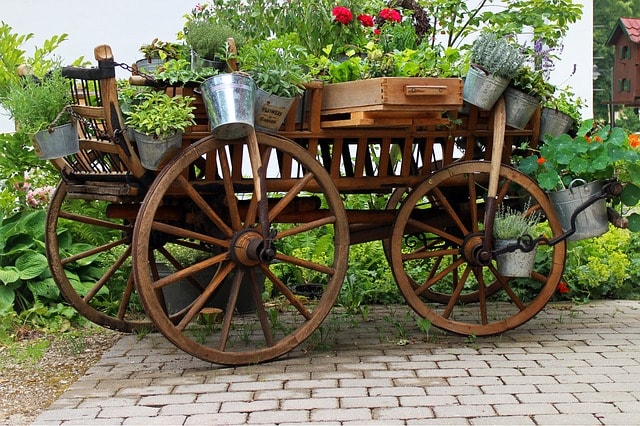 cart with with various flower pots